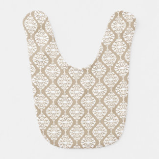 Elegant Tan And White Damask Pattern Baby Bib