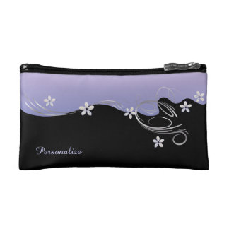 Elegant Tanzanite Purple Floral Swirls Makeup Bag
