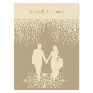 Elegant Taupe Newlywed's Silhouette Tissue Paper