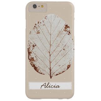 Elegant Taupe & White Leaf Skeleton Custom Name Barely There iPhone 6 Plus Case