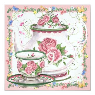 "Elegant Tea / Coffee - SRF 5.25"" Square Invitation Card"