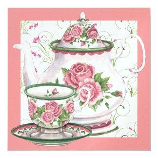 "Elegant Tea Party - SRF 5.25"" Square Invitation Card"