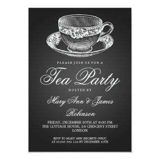 Elegant Tea Party Vintage Tea Cup Black Card