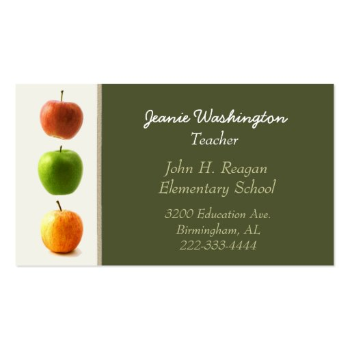 Elegant Teacher's Business Card