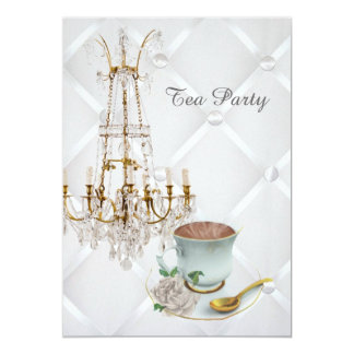 elegant teacup chandelier vintage tea party card