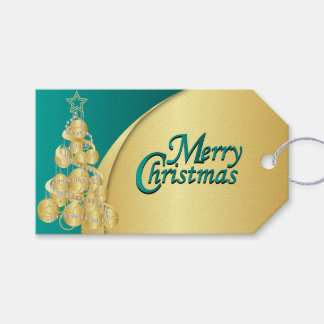 Elegant Teal and Gold Christmas Gift Tags