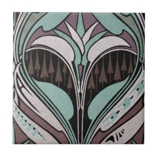 elegant teal and wine art nouveau design ceramic tile