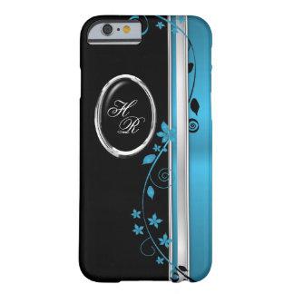 Elegant Teal & Black Floral Monogram iPhone 6 case