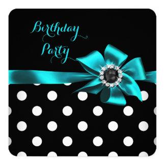 "Elegant Teal Black White Polka Dots Birthday Party 5.25"" Square Invitation Card"