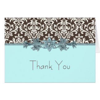 Elegant Teal Blue and Brown Thank You Cards