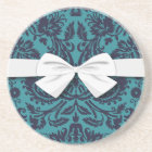 elegant teal blue and midnight damask coaster