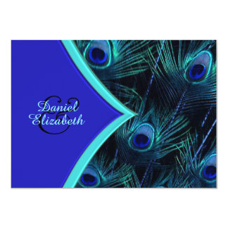 Elegant Teal Blue and Royal Blue Peacock Wedding Card