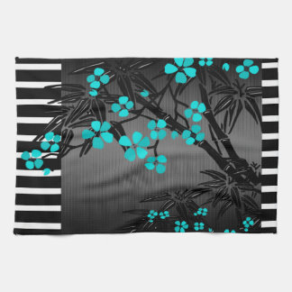 Elegant Teal Blue Blossom Black Asian Bamboo Kitchen Towel