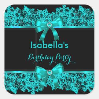 Elegant Teal Blue Bow Lace Black Party  Sticker