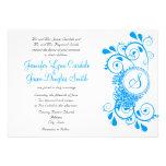 Elegant Teal Blue Flourish Monogram Wedding Invite