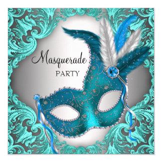 "Elegant Teal Blue Masquerade Party 5.25"" Square Invitation Card"
