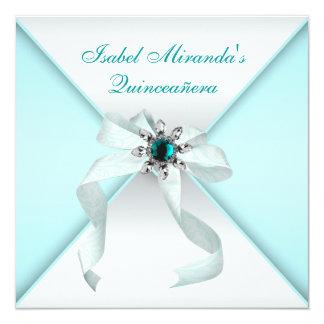 "Elegant Teal Blue Quinceanera Party 5.25"" Square Invitation Card"