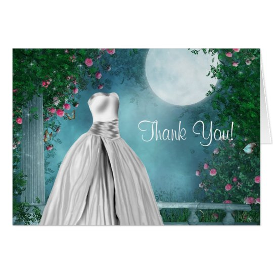 Elegant Teal Blue Quinceanera Thank You Cards