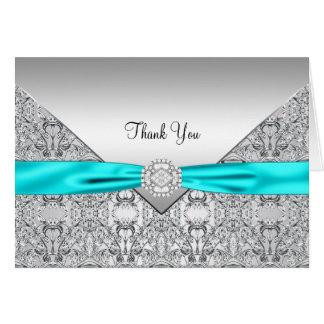 Elegant Teal Blue Silver Thank You Card