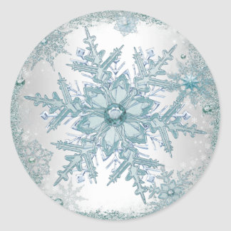Elegant Teal Blue Snowflake Stickers