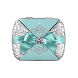 Elegant Teal Blue Sweet 16 Birthday Party Candy