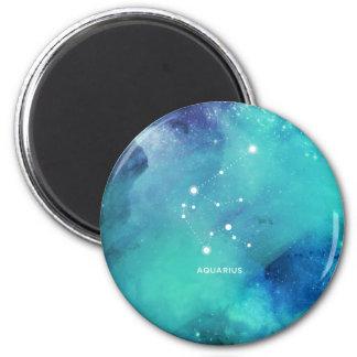 Elegant Teal Blue Watercolor Nebula Aquarius 2 Inch Round Magnet