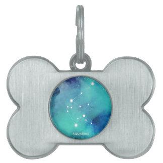 Elegant Teal Blue Watercolor Nebula Aquarius Pet Tag