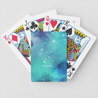 Elegant Teal Blue Watercolor Nebula Aquarius Poker Deck