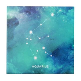 Elegant Teal Blue Watercolor Nebula Aquarius Tiles