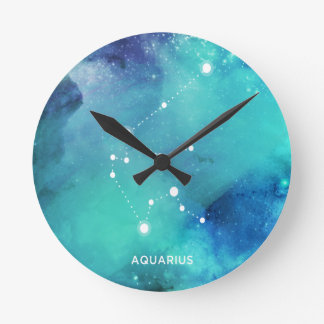 Elegant Teal Blue Watercolor Nebula Aquarius Wallclocks