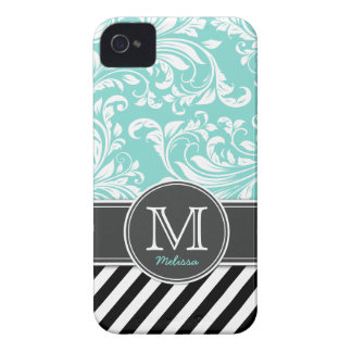 Elegant Teal Blue & white floral damask & stripes iPhone 4 Case-Mate Case