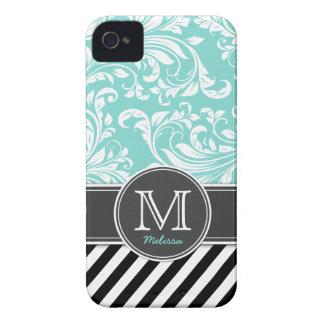 Elegant Teal Blue & white floral damask & stripes iPhone 4 Cover