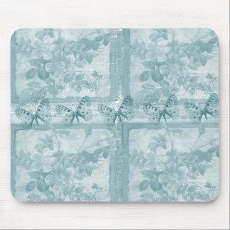 Elegant Teal Butterflies Floral Mouse Pad