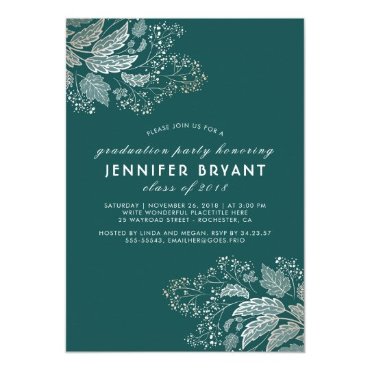 Elegant Teal Colour and Gold Foliage Graduation Card