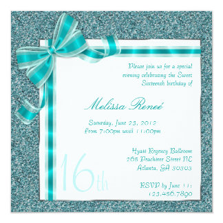 Elegant Teal Faux Glitter Invite with Bow