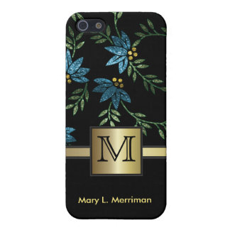 Elegant Teal Floral Glitter | Monogram iPhone 5 Cover