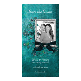 Elegant Teal Floral Save the Date Photo Cards