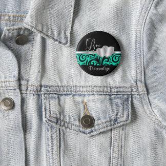 Elegant Teal Glitter Love   DIY Name 2 Inch Round Button