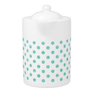 Elegant Teal Glitter Polka Dots Pattern
