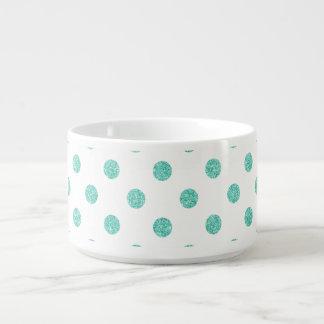 Elegant Teal Glitter Polka Dots Pattern Bowl