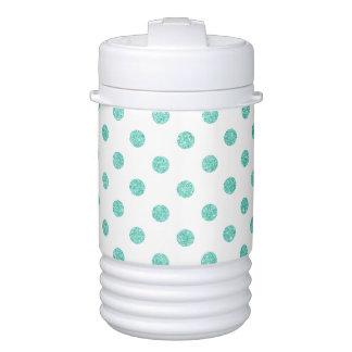 Elegant Teal Glitter Polka Dots Pattern Cooler