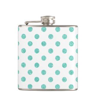 Elegant Teal Glitter Polka Dots Pattern Flask