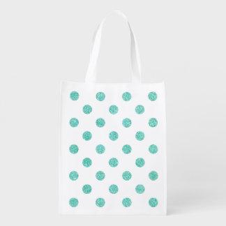 Elegant Teal Glitter Polka Dots Pattern Grocery Bags