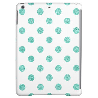 Elegant Teal Glitter Polka Dots Pattern iPad Air Cases