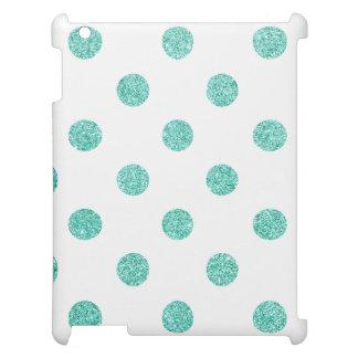 Elegant Teal Glitter Polka Dots Pattern iPad Covers