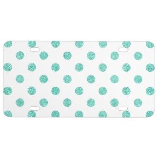 Elegant Teal Glitter Polka Dots Pattern License Plate