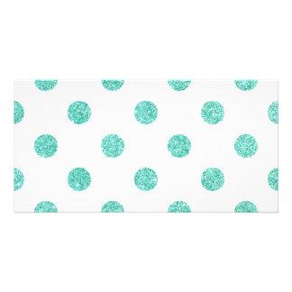 Elegant Teal Glitter Polka Dots Pattern Personalized Photo Card
