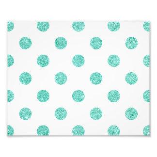 Elegant Teal Glitter Polka Dots Pattern Photo Art