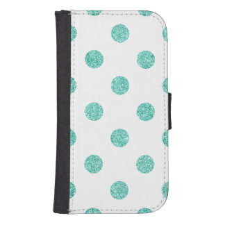 Elegant Teal Glitter Polka Dots Pattern Samsung S4 Wallet Case
