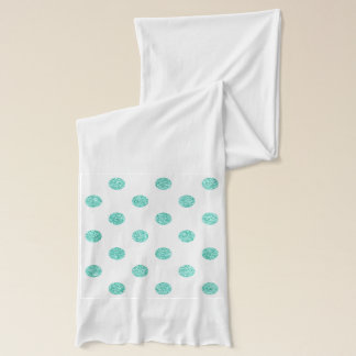 Elegant Teal Glitter Polka Dots Pattern Scarf